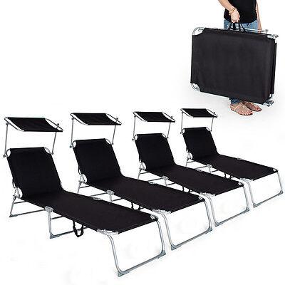 4 x Chaise longue de jardin pliante transat bain + pare soleil noir