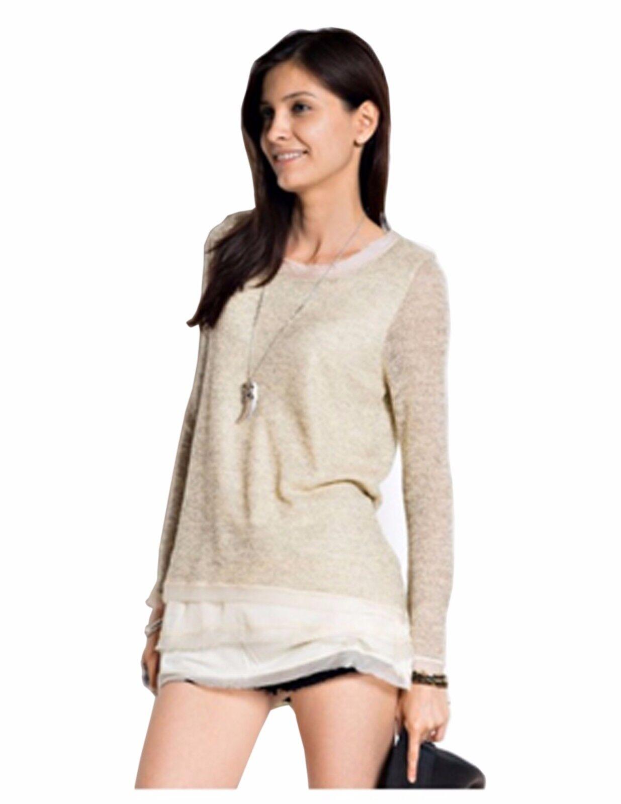 Women's Oatmeal Bohemian Boho Long Ruffled Sweater S M L