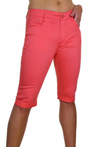 Stretchy Capri Skinny Leg Jeans Turn Up Chino Sheen Coral 10-18 1518-6