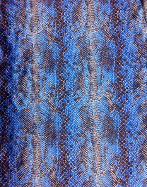 Royal Blue Snakeskin Pattern on Shiny Stretch Satin Polyester Spandex Fabric