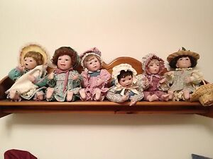 ashton drake porcelain dolls lot of 6 plus display shelf and