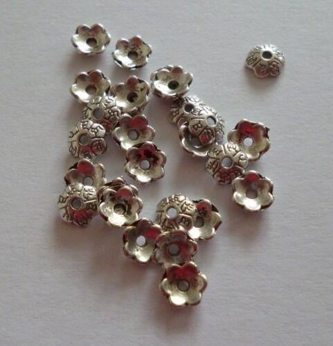 20 Stück Tibet Style silberfarbig Perlenkappen ca.6x2mm