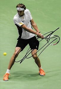 alexander zverev germany making a return shot signed 12x8 photo PROOF