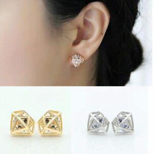 Ohrstecker-Ohrring-Kristall-Zirkonia-Strass-Diamant-3d-Silber-Edel-Filigran