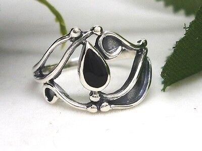 Zierlicher Silber Ring 925 mit schwarzen Stein Jugendstil-Design