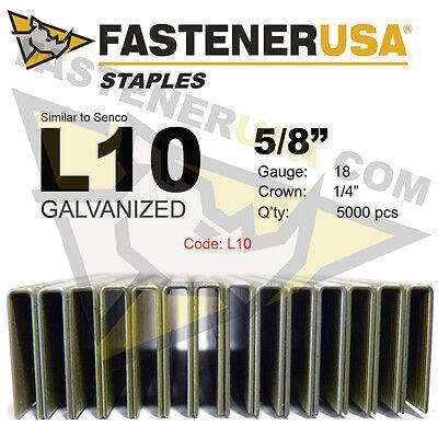 "7//8/"" length 5000 ct L Staples L12 Galvanized Steel 18 gauge 1//4/"" crown"