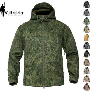 b44552345 Mens Soft Shell Jacket Shark skin Army Waterproof Outdoor Hooded ...