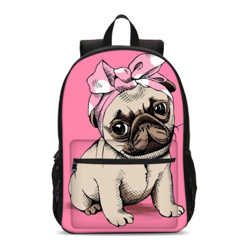 Pink Pug Bow Student Big Backpack Insulated Lunch Box Shoulder Bag Pen Case Lot