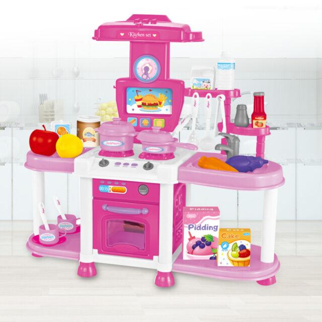 Infantastic Childrens Kitchen Set In Blue Red Kids Toy Pretend