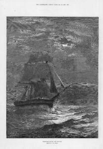 1881-FINE-ART-Antique-Print-HOMEWARD-BOUND-Artist-JR-Wells-Ship-Sails-124