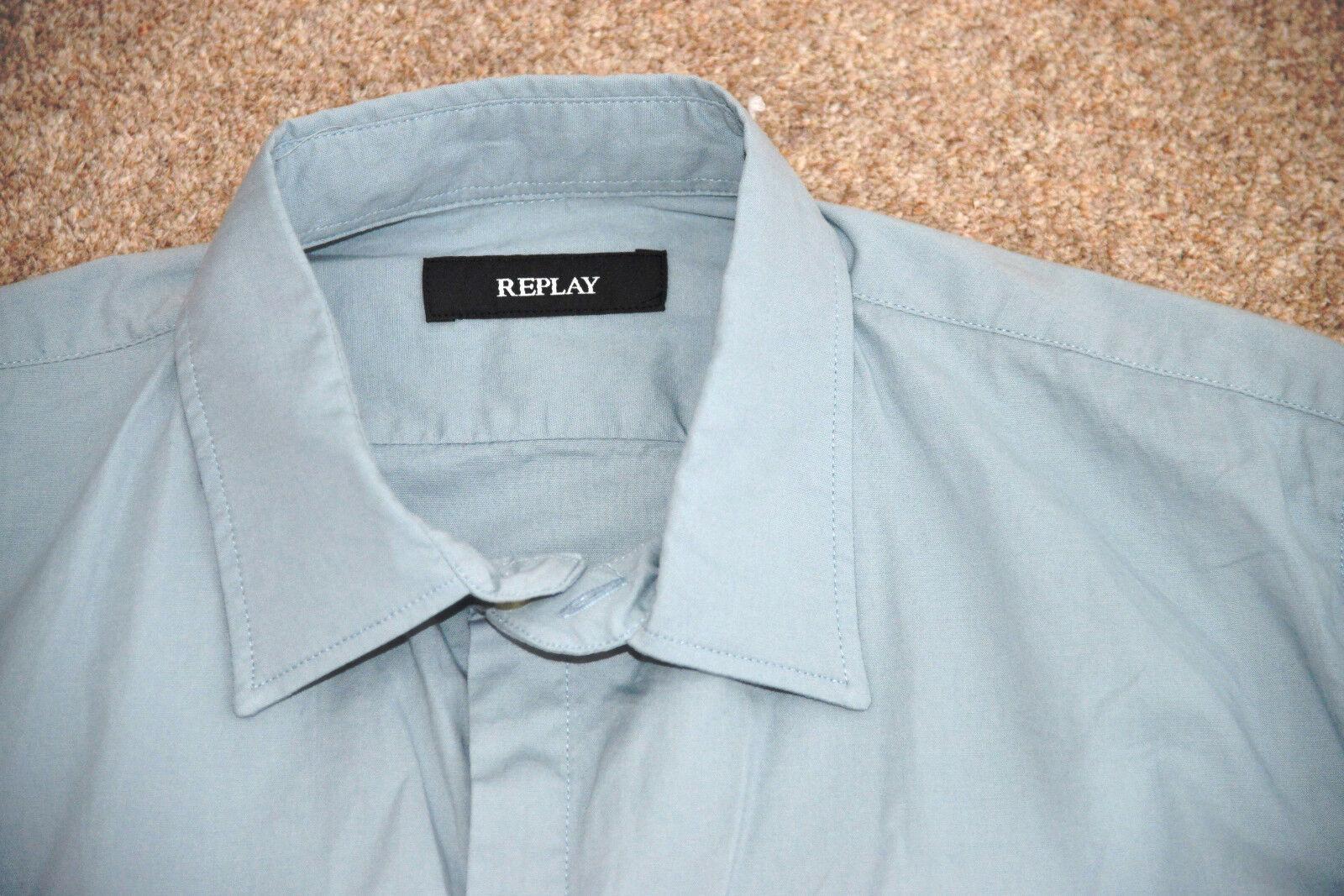 NUOVO REPLAY Classic Manica Lunga Camicia Camicia Camicia Casual Slim Fit Turchese M4921 M80279A M 0c0b16