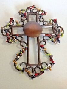 Wrought-Iron-Cross-amp-Color-glass-beads-Wall-art-decor-Spirituality-8-x-10-034-India