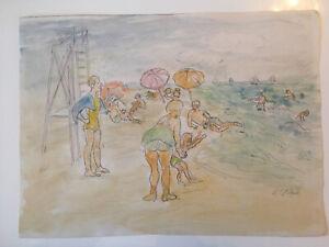 Emil-Hess-Signed-Beach-Scene-Original-Watercolor-8-x-10