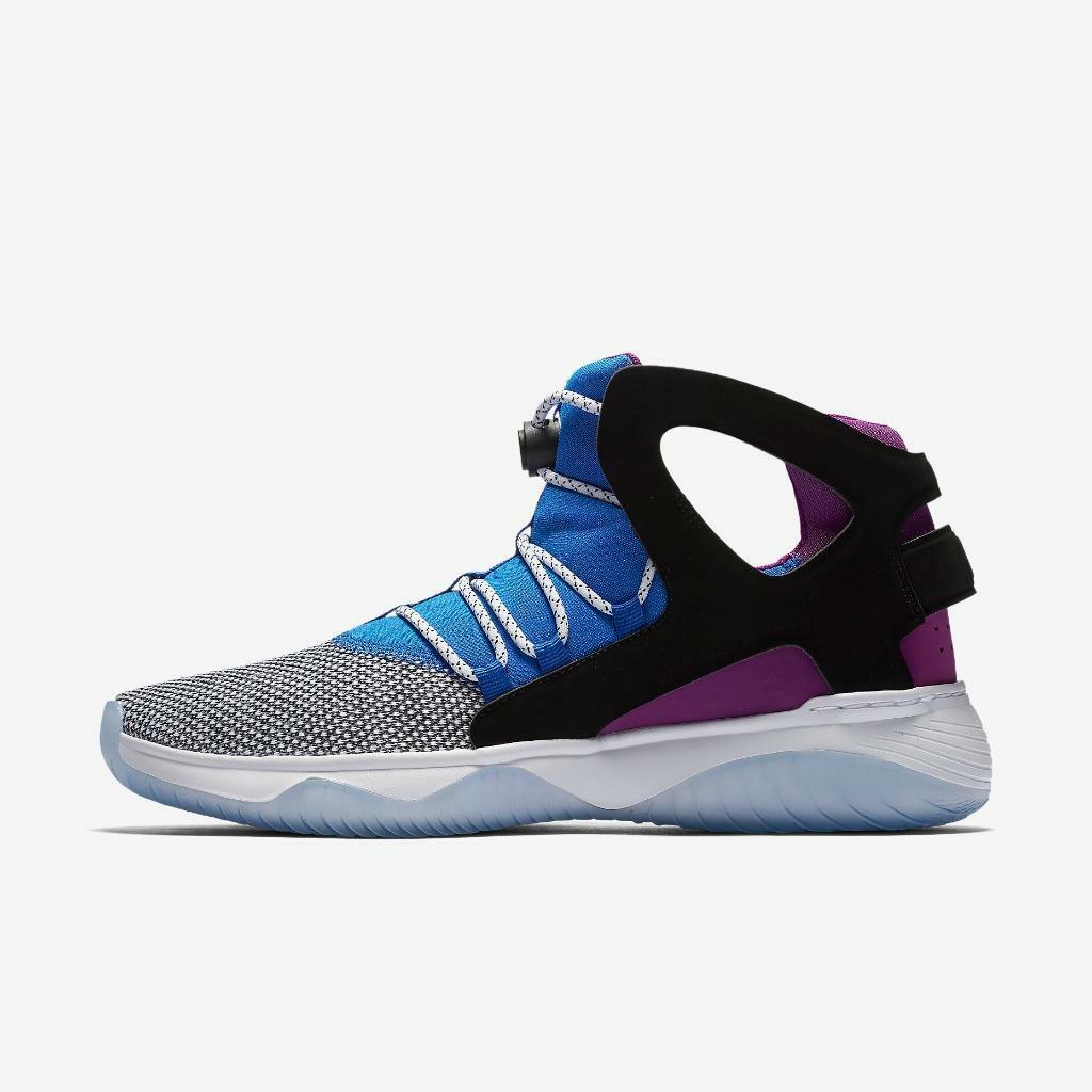 NIKE AIR FLIGHT HUARACHE ULTRA 880856 100 WHITE/LYON BLUE-BOLD BERRY PURPLE-BLCK