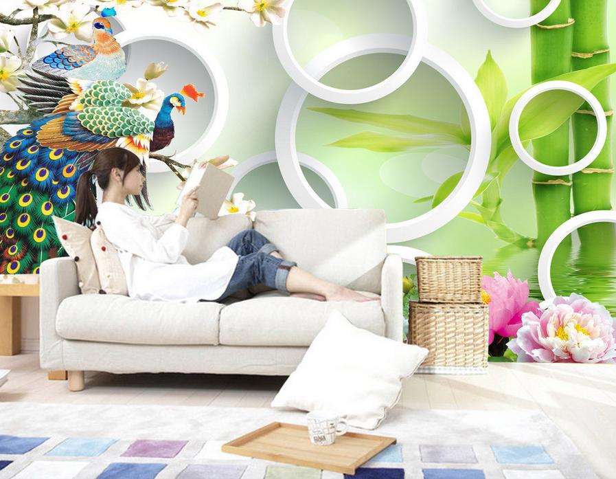 3D Farbiger Feder Pfau 864 Tapete Wandgemälde Tapete Tapeten Bild Familie DE
