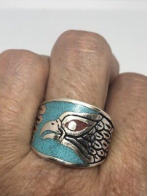 1980's Vintage Silber Weiß Bronze Size 10.5 Herren Hawk Türkis Einlage Ring SchöN Und Charmant