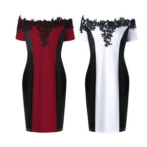Plus-Womens-Applique-Colorblock-Formal-Work-Cocktail-Party-Bodycon-Pencil-Dress
