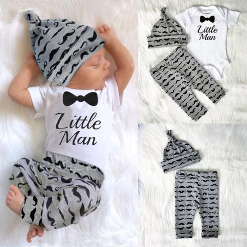 Newborn Baby Boy Infant Short Sleeve Romper Hat Outfit Set Clothes Long Pants