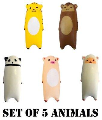 Set Of 5 Animal Jumbo Squishy Squishies Pet Soft Slow Rising Toy Stress Reliever SchüTtelfrost Und Schmerzen