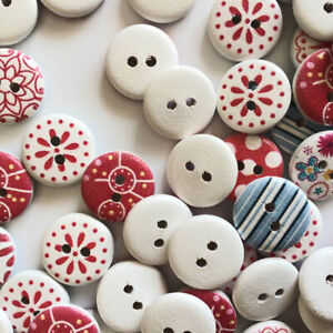 100 Pcs Wooden Buttons Sewing Mixed Round 15mm 2 Holes DIY Scrapbooking Handmade