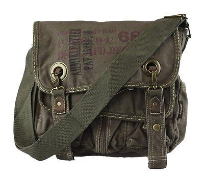 Canvas Casual Vintage Look Cross Shoulder Medium Size book Messenger Bag - Green