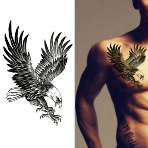 Details About Eagle Waterproof Temporary Body Art Arm Shoulder Chest Tattoo Sticker Womenmen