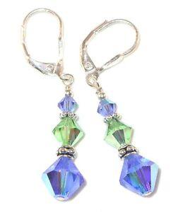 Sapphire-BLUE-Peridot-GREEN-Crystal-Earrings-Sterling-Silver-Swarovski-Elements