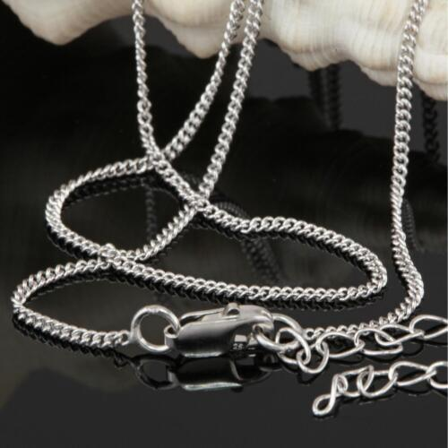 Señora caballero real 925 plata collar cadena de tanques 45 cm x 1 mm rhodiniert k1543