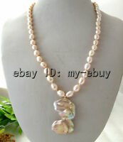 """Pink Pearl 20"""" Necklace&Luster Metallic Lavender Baroque Twins Pearl Pendant"""