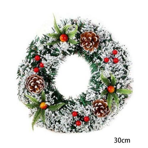 Christmas Wreath Ornament Home Rattan Festive Party DIY Snow Dusted Ornaments