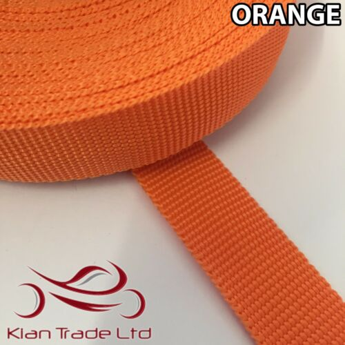 LIGHT STRONG FLEXIBLE WEBBING CARGO 15MM POLYPROPYLENE STRAP ORANGE