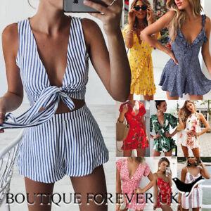 UK Womens Holiday Mini Playsuit Ladies 2 Pcs Set Summer Beach Dress Size 6-14