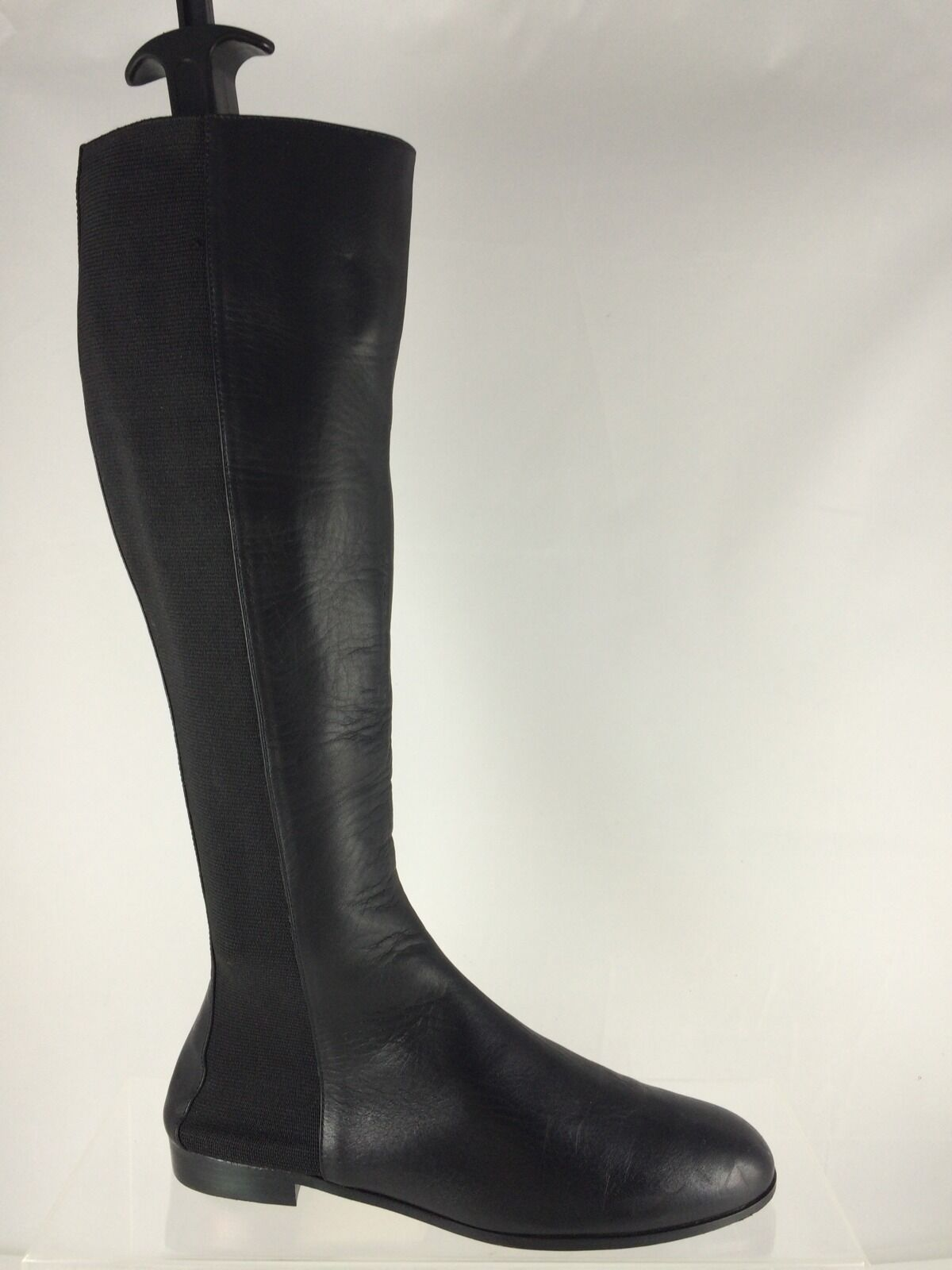1275 Manolo Blahnik Womens Black Leather Tall Boots 37.5 M