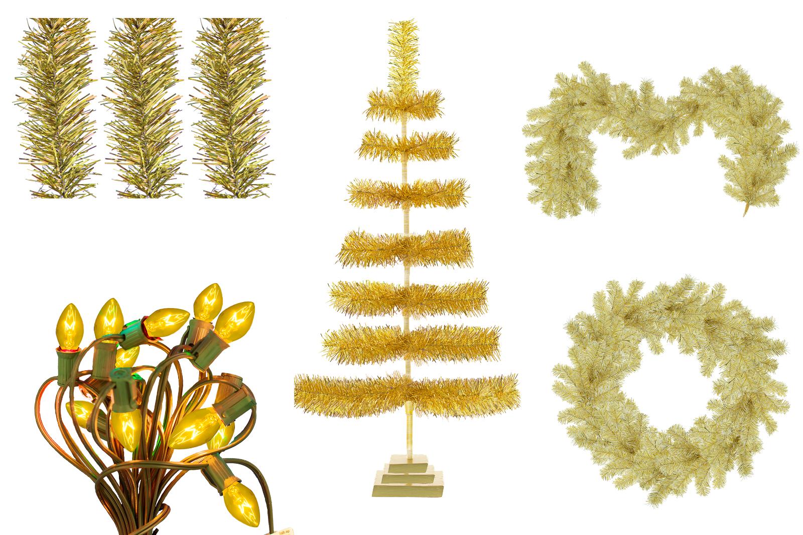 Gold Christmas Decoration Bundle Kit 3FT Tree, Garland, Wreath, Lights, Tinsel