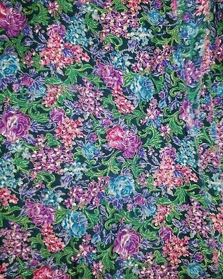 By 1//2 Yd P2394 Burgundy Pink Cream /& Green Floral Quilt Cotton Peter Pan