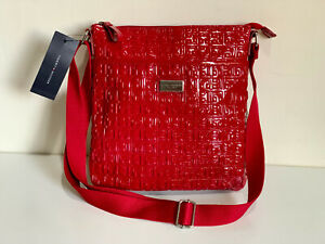 NEW! TOMMY HILFIGER RED MEDIUM MESSENGER CROSSBODY SLING BAG PURSE $88 SALE