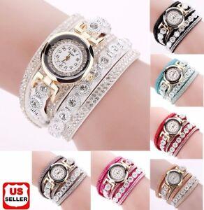 Fashion-Women-039-s-Stainless-Steel-Bling-Rhinestone-Bracelet-Wrist-Watch-Xmas-Gift