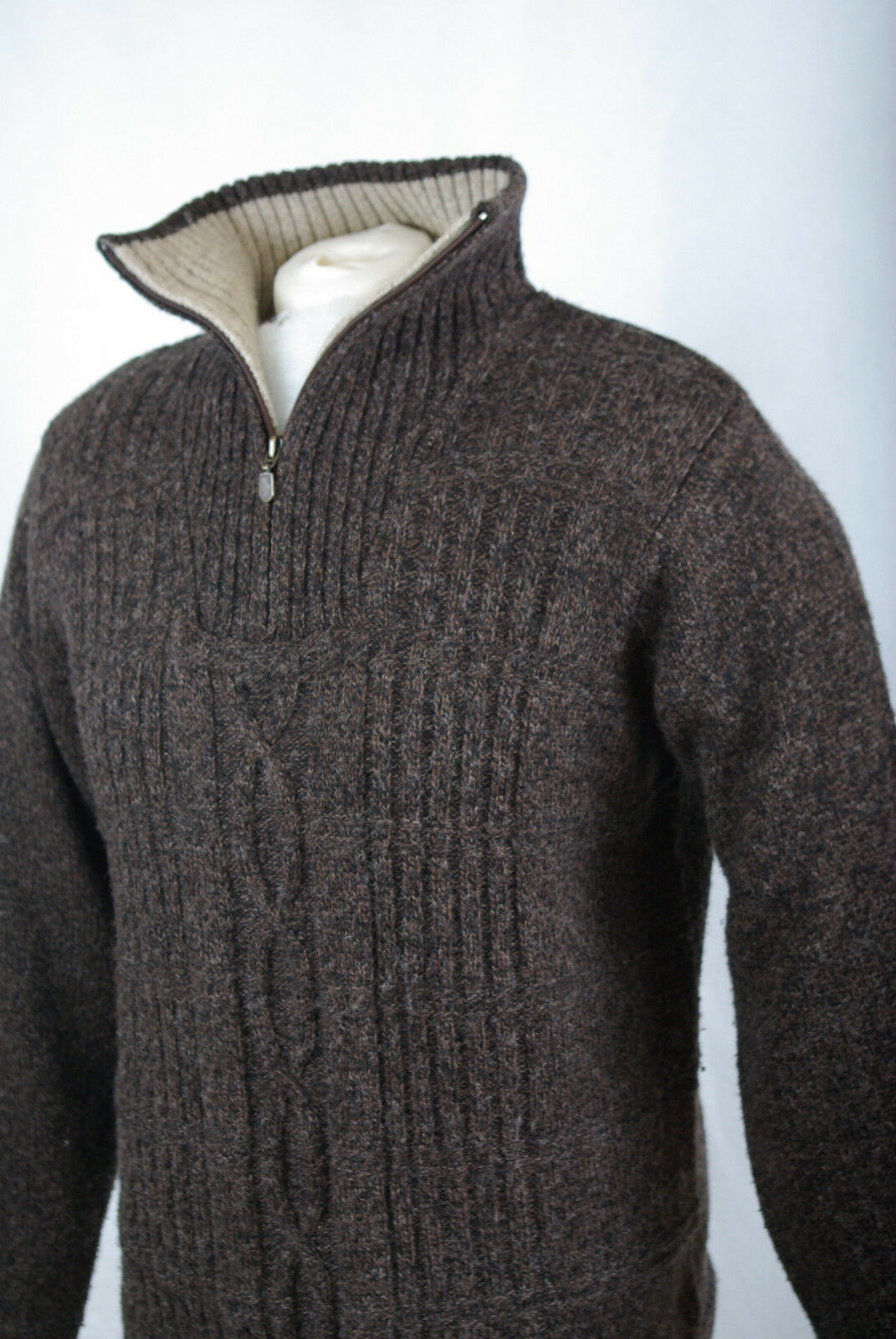 P454/11 foncé mélangée laine mélangée foncé marron Chunky Cable Knit Pull, S cab69b