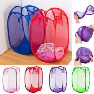 Foldable Pop Up Washing Clothes Laundry Basket Bin Hamper Mesh Storage Bag New