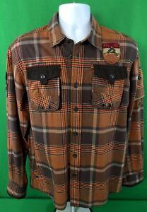 Parish-Nation-Mens-Button-Front-Shirt-Brown-Plaid-Long-Sleeve-Sz-L-Large-Patches