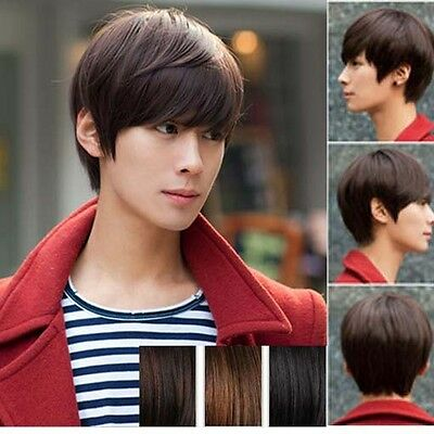 New Korean Men's Handsome Short Straight Hair Full Wigs Cosplay Party 3 Colors