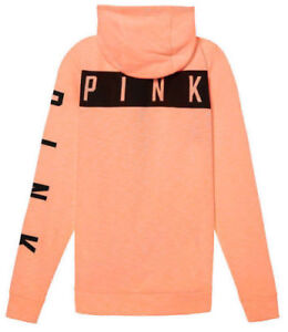 055ba8ee85ac1 Details about VICTORIA'S SECRET PINK PERFECT FLEECE HIGH LOW HOODIE MARL  ORANGE PEACH S