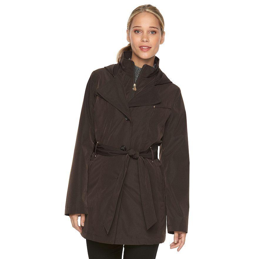 Women's Croft & Barrow Hooded Rain Coat Expresso Size XL NEW MSRP