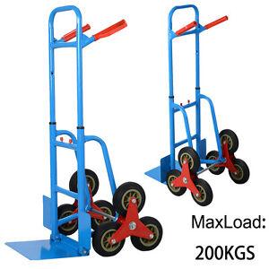 6 Wheel Stair Climber Cart Climbing Flat Bed Sack Truck Hand Trolley Heavy Duty