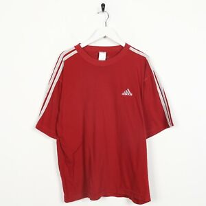 Vintage-80s-ADIDAS-Small-Logo-T-Shirt-Tee-Red-Large-L