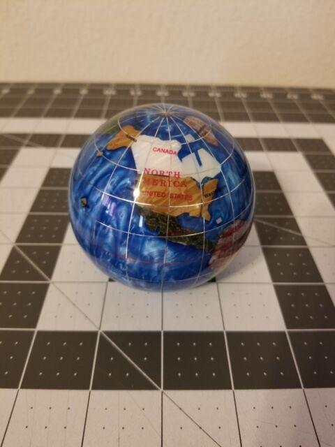 Marine Blue 3 Gemstone Globe Paperweight in Gift Box