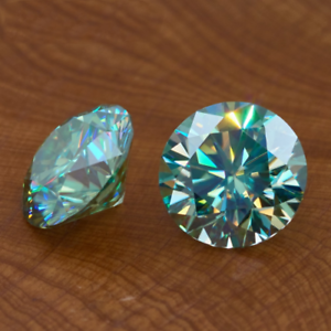 Greenish Blue Round 0.76 to 4.75 Ct VVS1 Loose Moissanite for sale 100/% Genuine