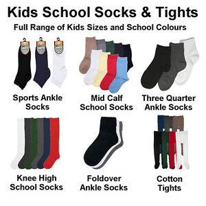 Premium-Cotton-School-Socks-Knee-High-amp-Tights-All-Sizes-6-Pairs-in-9-Colours