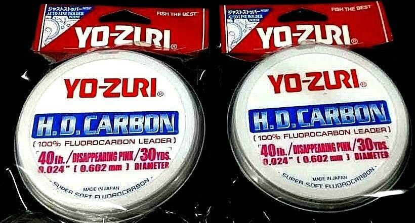 Yo-Zuri HD Carbon Flugoldcarbon Leader 40 lb 30 yds x 2 disappearing pink spools