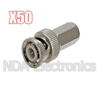 50 pcs RG6 Twist on to Male BNC Connector Coaxial Lot Pack